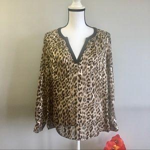 Chaus NY leopard print v neck sheer blouse